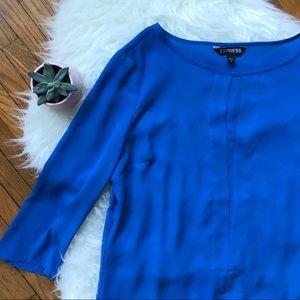 Express Blue Flowy 3/4 Sleeves Top - SZ S - EUC!
